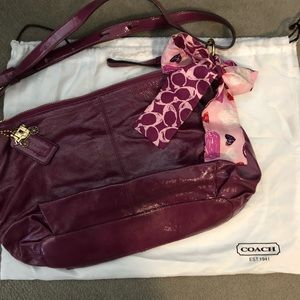 Coach patent leather shoulder bag w/matching scarf